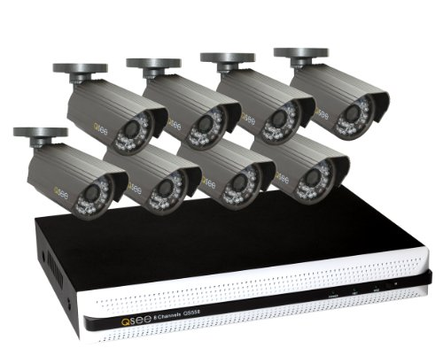 Q-See QS558-852-1 8 Channel Full D1 Security Surveillance DVR System with 8 High-Resolution Cameras and 1TB Hard Drive, Black