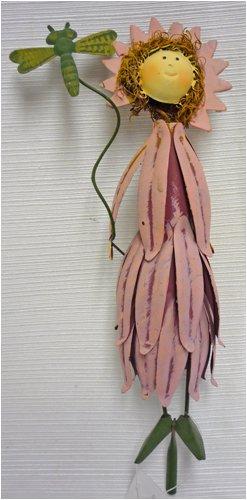 Pink Petal Dress Metal Garden Fairy Gift Stake