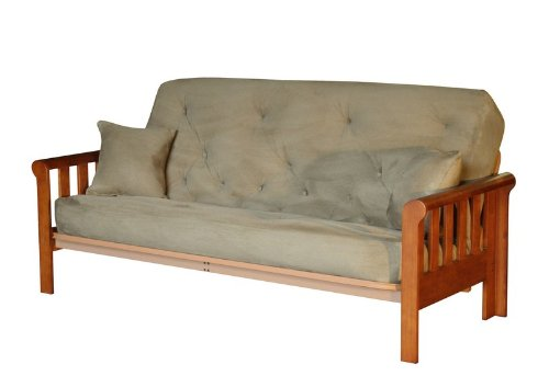 Lovely Solid Futon Bed Frame Sleigh Arm Design with Mattress in Rich Heirloom