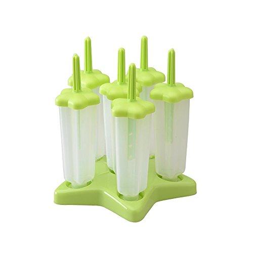 Lot de 6 Moules Glace Crème Glacée DIY Popsicle en PP Plastique avec d'étoile Base - Vert