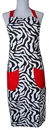 Zebra Stripe Hostess Full Size Kitchen Apron
