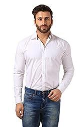 Mesh Full Sleeves Casual Cotton Shirt for Men's/Boy's (White) -42
