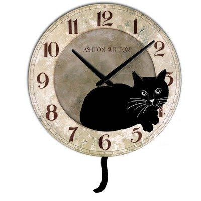 Ashton Sutton Cat Clock with Pendulum