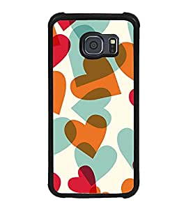 Fuson Premium 2D Back Case Cover Cute hearts pattern With pink Background Degined For Samsung Galaxy S6 Edge::Samsung Galaxy Edge G925