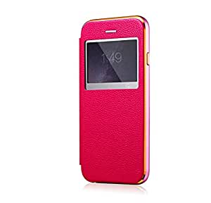 Iphone 6 6s Plus Case, Genuine Leather Smart Window View Metal Frame Protection Super Slim Flip Folio Cover Case for Iphone 6 5.5'' (Pink+pink)