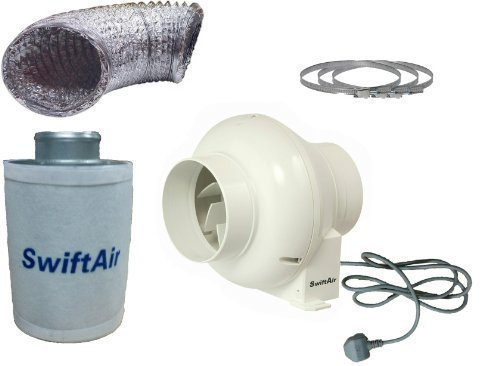 110 m3/hr Complete Hydroponic Fan Kit UK plug perfect for tents growing extract hydroponics