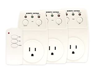 Wireless Remote Control Outlet Switch Socket 3 Pack (3 Outlets) * BATTERY INCLUDED *