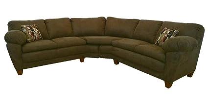 Amanda 2-Pc Sectional Sofa in Bulldozer Java Fabric
