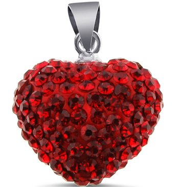 Authentic Sterling Silver LARGE Heart Cz Ruby Pendant. 16 mm Size With Cubic Zirconia Handset Ruby Diamond Color Stones