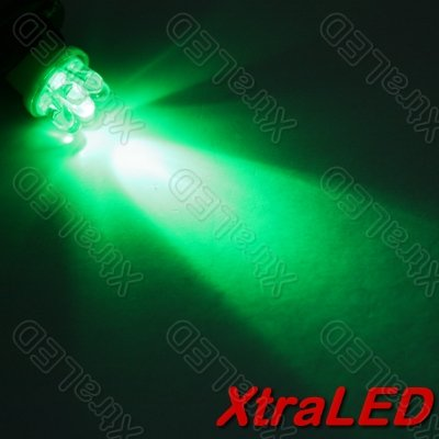 Lot of 10 T10 7xLED Car Sidelight Wedge Bulbs - Green
