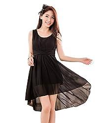Dress({Choice Fashion_Black_Large_Embroidery_Georgette_Women's Dress})