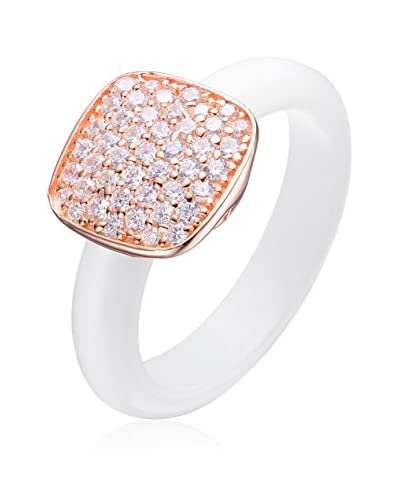 Alberto Moore CZ & White Ceramic Square Ring, White/Rose