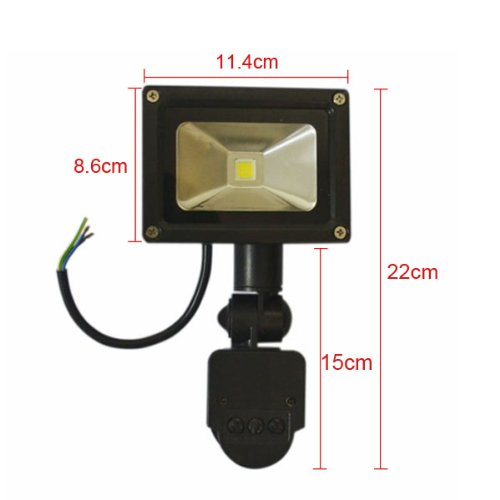 Black Color 10W Pir Passive Infrared Motion Sensor Flood Light Ac 110-220V 800 Lumen