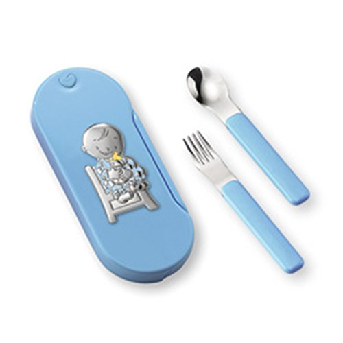 Silver Touch USA Baby Utensil Set Sterling Silver Baby Boy, Blue