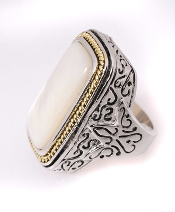 Rectangle Shell with Two Tone Fashion Ring, Size 7