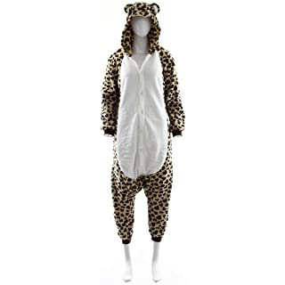 Fashion Wardrobe ONESIE Adult Pyjamas ANIMAL ZOO FANCY DRESS (UK 6-8 Small, Leopard W406)