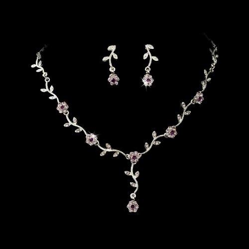 Silver Amethyst Floral Rhinestone Crystal Bridal Wedding Necklace Earring Set