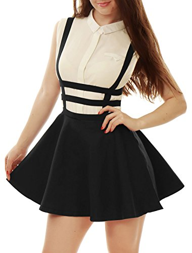 Allegra K Lady Elastic Waist Zip Back Cut Out Detail Suspender Skirt Black XS (Model Clothing compare prices)