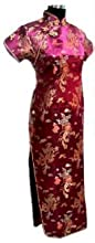 Black Omen (ブラックオーメン) 光沢あり 龍 鳳鳳 柄 刺繍 半袖 カラー マキシ丈 ロング チャイナ ドレス(レディース、女性用)ドラゴン プリント 模様 エナメル サテン 中華風 中国 パーティー ワンピース スリット ワンピ ドレス(紫色(パープル)、XL)op021pu/xl