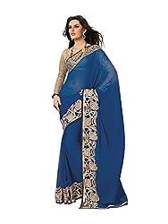 Subhash Sarees Daily Wear Blue Color Chiffon Saree Sari Sarees
