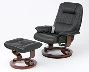 Napoli Recliner Black Massage Heat Chair And Foot Stool