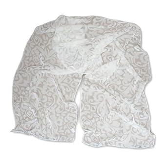 Thai Silks!, Velvet Scarf, 22 X 72, White, Baroque, No Fringe
