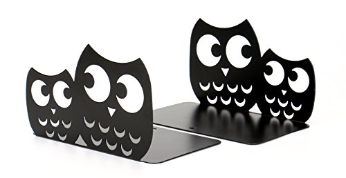 Fasmov Owls Nonskid Bookends Cute Bookends Art Bookends,1 Pair (Black)