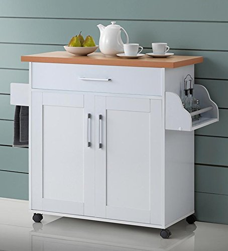 Hodedah Kitchen Island, White (Kitchen Island Microwave compare prices)