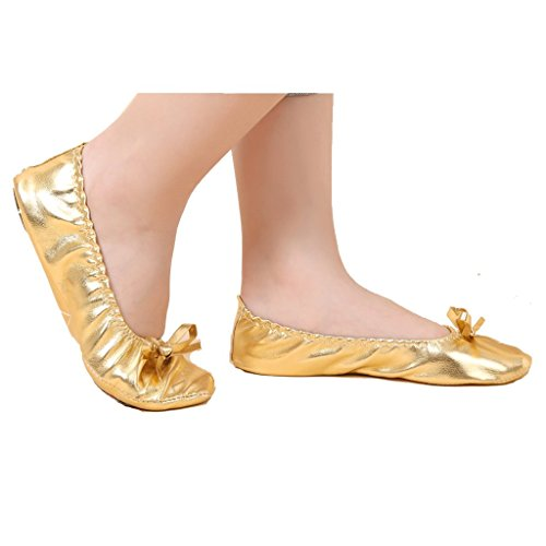 Pilot-trade Girls Kids Children's Belly Dance Shoes Gold Imitation Leather Shoes