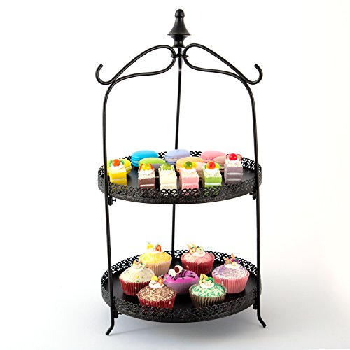 Vintage Style Black Metal 2 Round Tier Cupcake / Dessert / Pastry Serving Rack Display Stand with 3 Tong Holder Hooks - MyGift Vintage Metal Cake