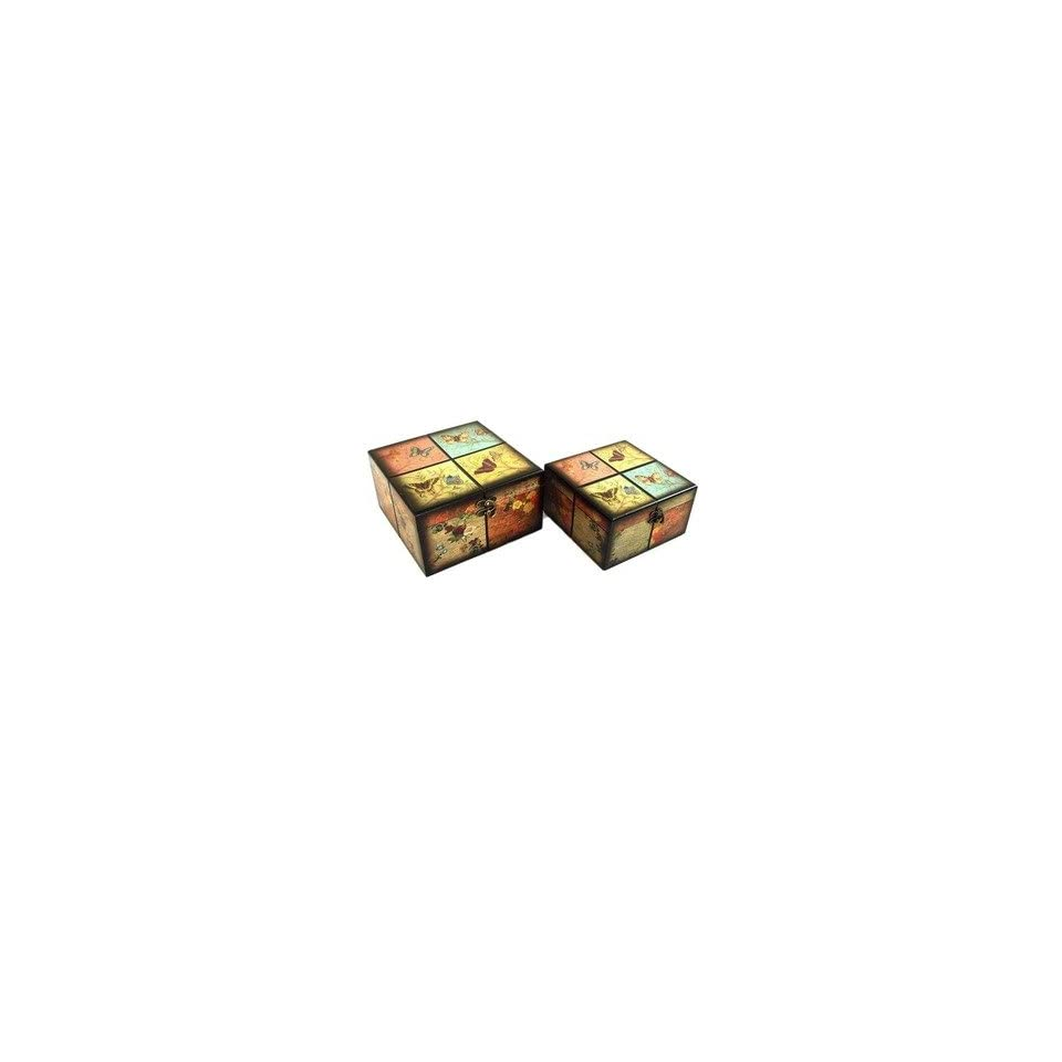 Jewelry Box with Colorful Butterfly Design (Set of 2)