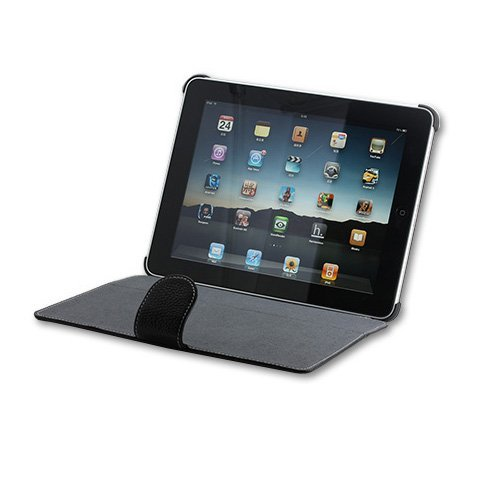 DigiOrange(TM) Leather Protective FLIP Case Cover with Kickstand For Apple iPad (Black)