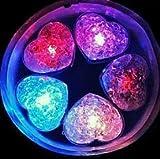 【Wepperin wolks】 ハート型 アイスライト 12個セット LED発光 光る氷 レインボーカラー パーティ 記念日に!