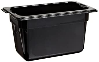 "Carlisle 1032103 TopNotch Ninth-Size Pan, 1 qt. Capacity, 6.75 x 4.25 x 4.00"", Black (Case of 6)"