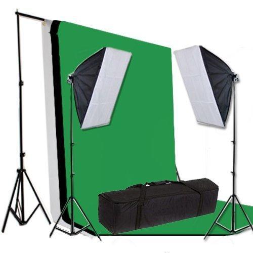 BPS 1250w,5500k,Illuminazione Continuo Softbox kit con Fondale Supporto+Sfondo Verde/bianco/nero set +Softbox 50x70 /5500k, E27 lampadina a risparmio set+Borsa per il trasporto per Studio Fotografico Professionale