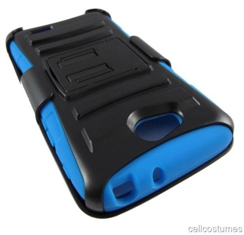 For LG Realm LS620 (Boost Mobile) Rugged Armor Hybrid Hard Case Cover+Belt Clip Holster – Black & Blue NEW [In CellCostumes Retail Packaging]