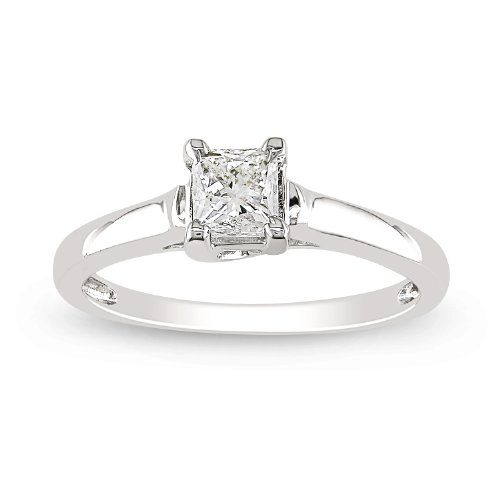 White Gold Classic 4-Prong Princess Cut Diamond Solitaire Engagement ...
