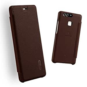 Lenuo Flip Leather Fully Protected Case Cover For Huawei P9-Brown