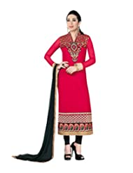 Mantra Fashion Heavy Red Zari Embroidery Work Heavy Georgette Straight Salwar Kameez