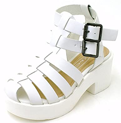 962ae8851f3 Photos of White Caged Block Heel Sandals