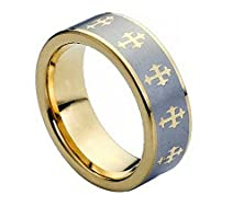 buy Free Engraving - 8Mm Tungsten Carbide Gold Plated With Cross On Brushed Center Wedding Band Ring For Men Or Ladies