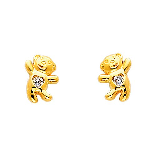 14K Yellow Gold Plated Bear CZ Stud Earrings with Screw-back for Children & Women