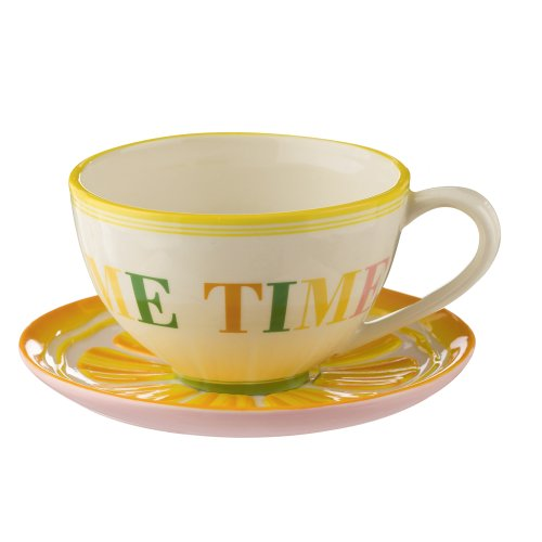 Grasslands Road Citrus Tea Cup And Saucer, 6-Inch, Set Of 4
