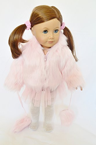 PINK FUR JACKET WITH MITTENS FOR AMERICAN GIRL DOLLS- 18 INCH DOLL CLOTHES