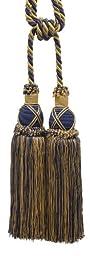 Beautiful Dark Navy Blue, Gold Curtain & Drapery Double Tassel Tieback / 10\