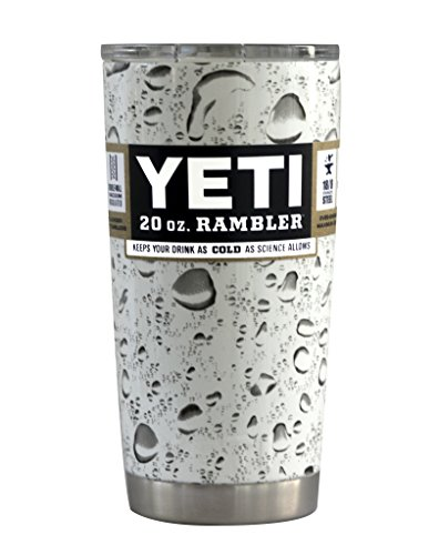 YETI Coolers Custom Dipped Insulated Stainless Steel 20 Ounce (20 oz) (20oz) Rambler Tumbler with Lid (White Water Drop)