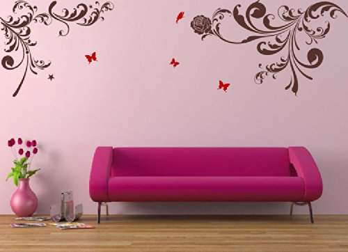 Pop Decors Removable Vinyl Art Wall Decals Mural, Beautiful Flower Vines