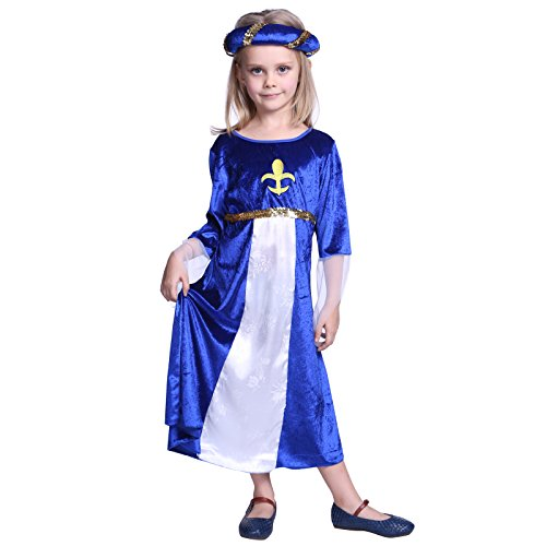 Girls Royal Medieval Regal Princess Queen Tudor Book Week Fancy Dress up Costume