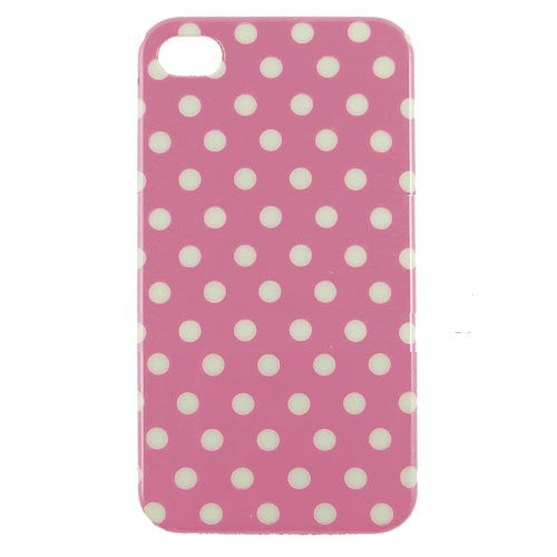 Soft Protective Leather Polka Dot Hard Shell Case For Iphone 4 4S - Pink/ White - All Repair Parts Usa Seller