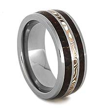 buy Dinosaur Bone Ring, Titanium Wedding Band With A Mokume Gane Pinstripe